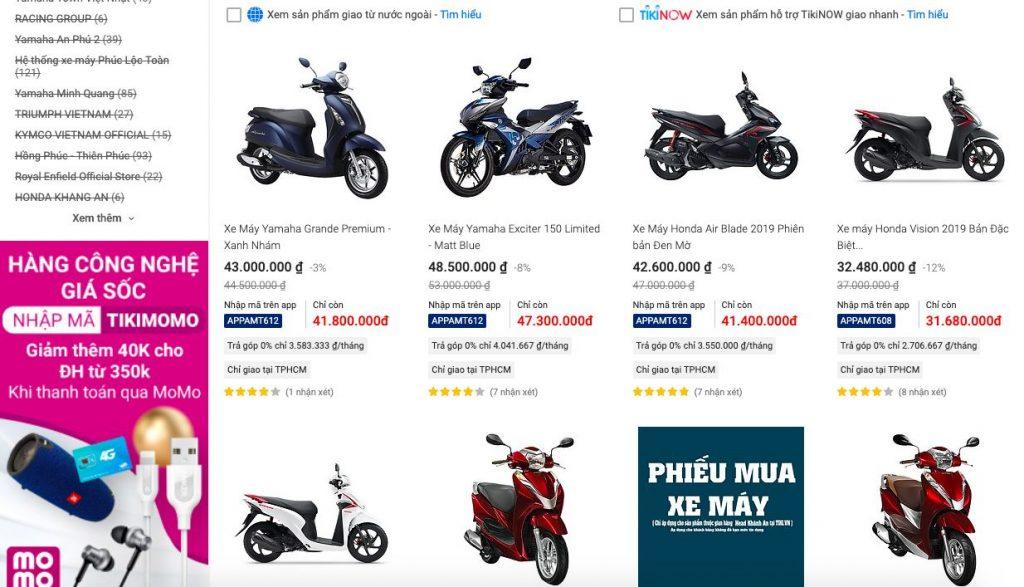 quy trình mua xe máy tại tiki